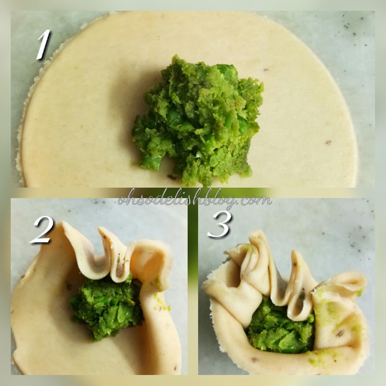 Shaping of green peas momos