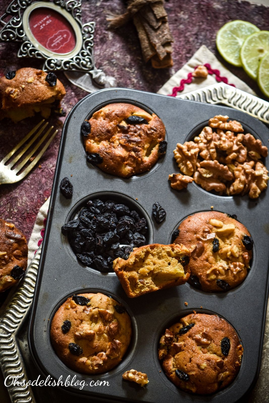 Healthy apple raisin walnut muffins made with wheat and amaranth flour