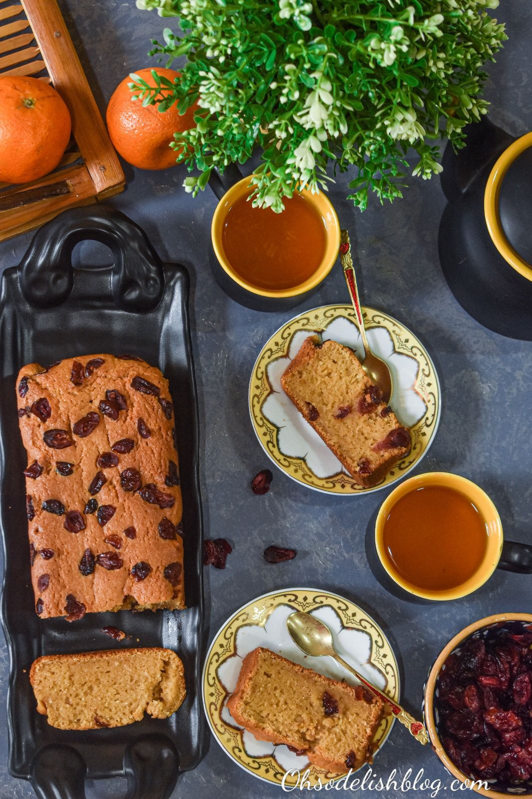 Healthy coconut orange cranberry cake made with whole wheat, sorghum and amaranth flour