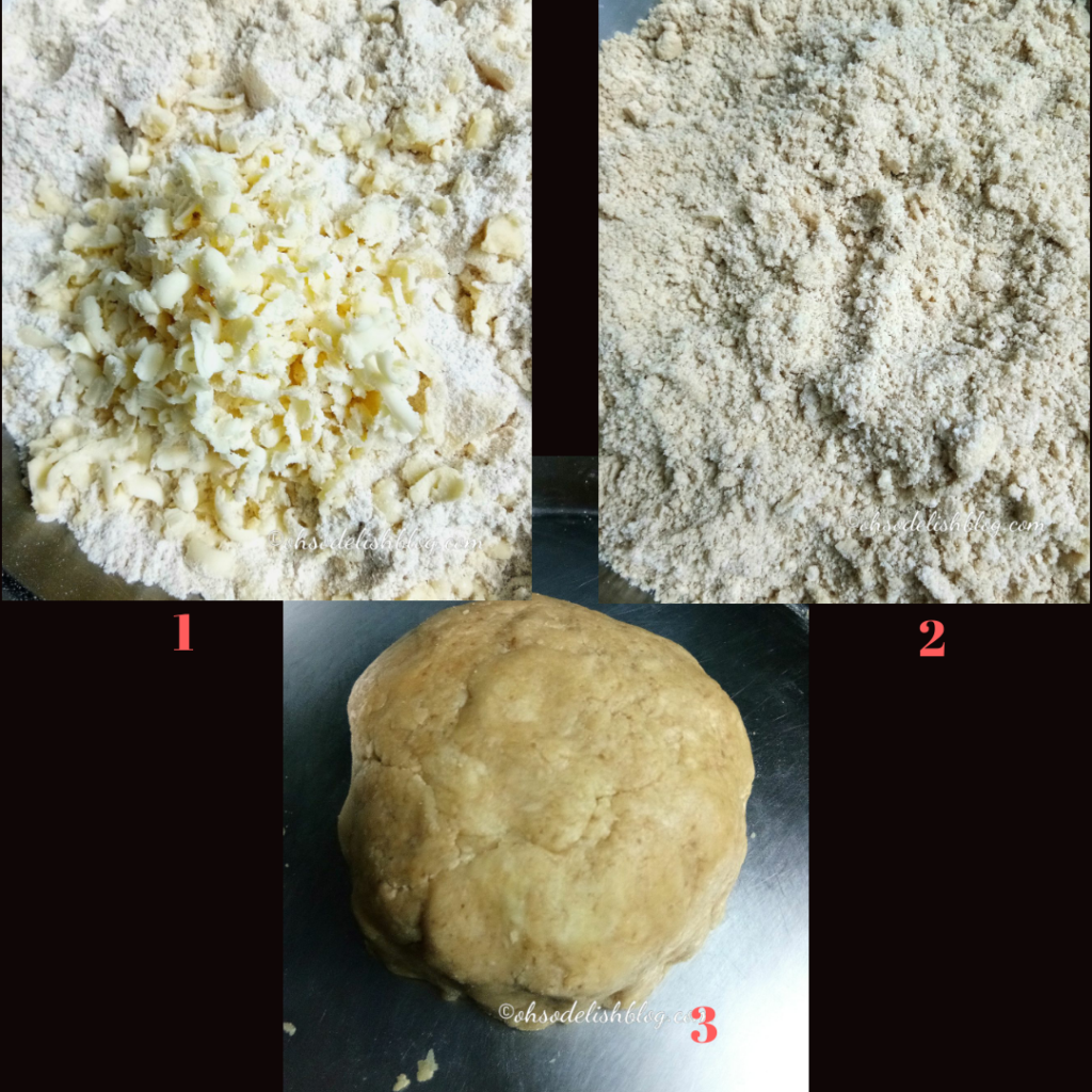 Steps of making whole wheat pie crust