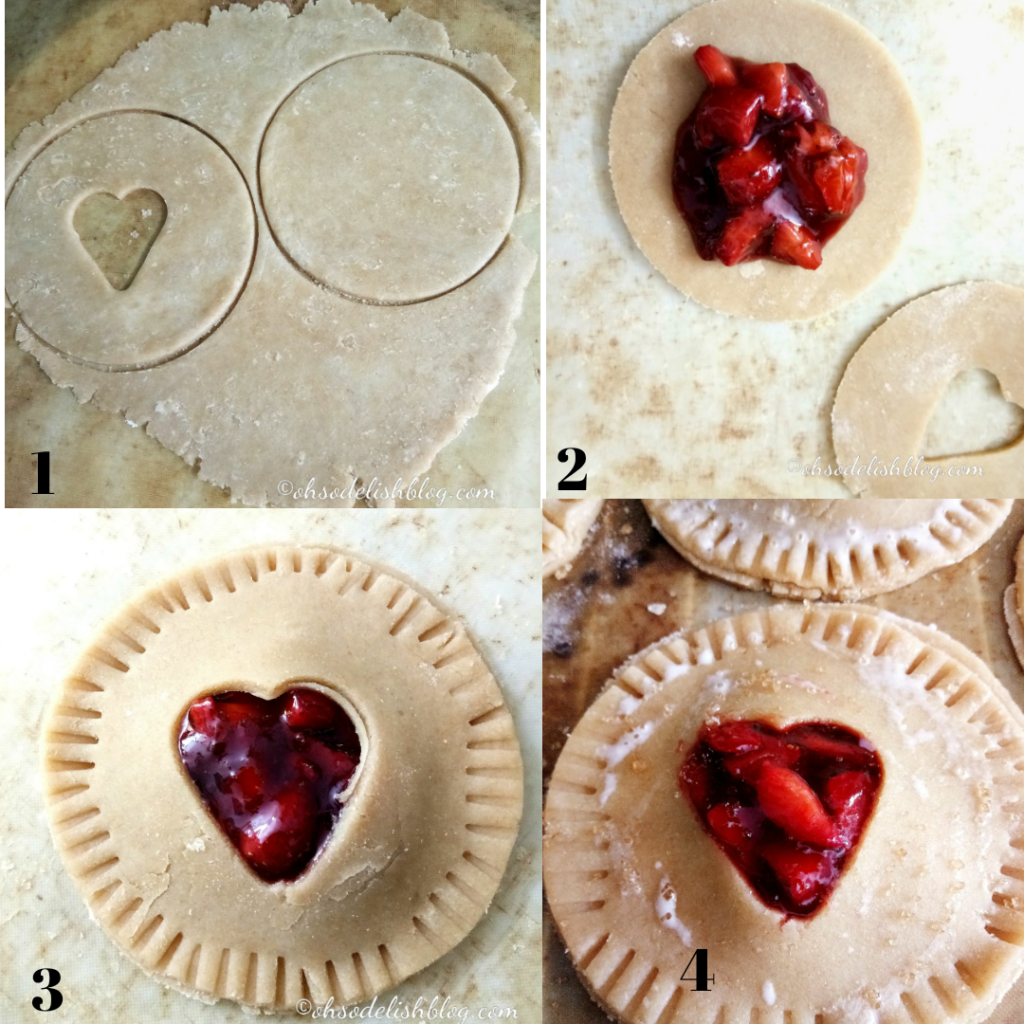 Rolling, cutting, shaping and filling strawberry hand pies