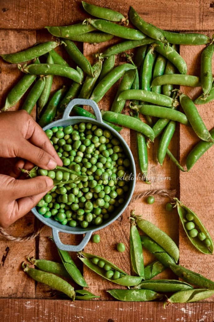 Fresh green peas styling and photography