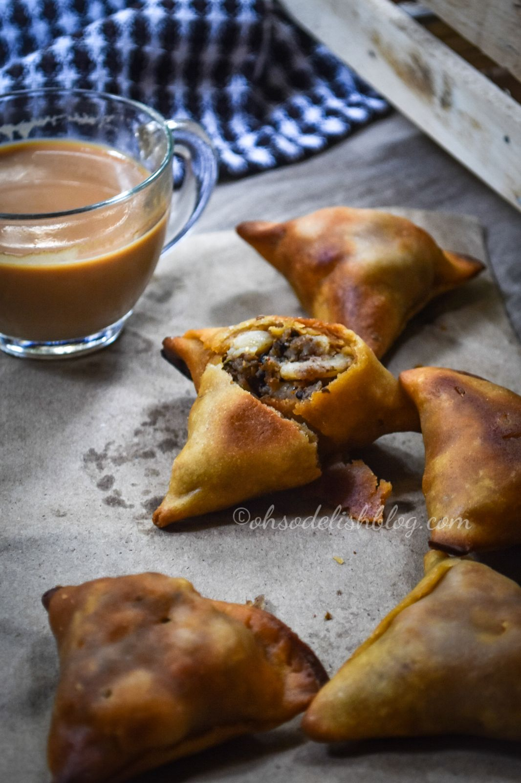 Baked Bengali style samosa made with wholewheat and stuffed with potatoes