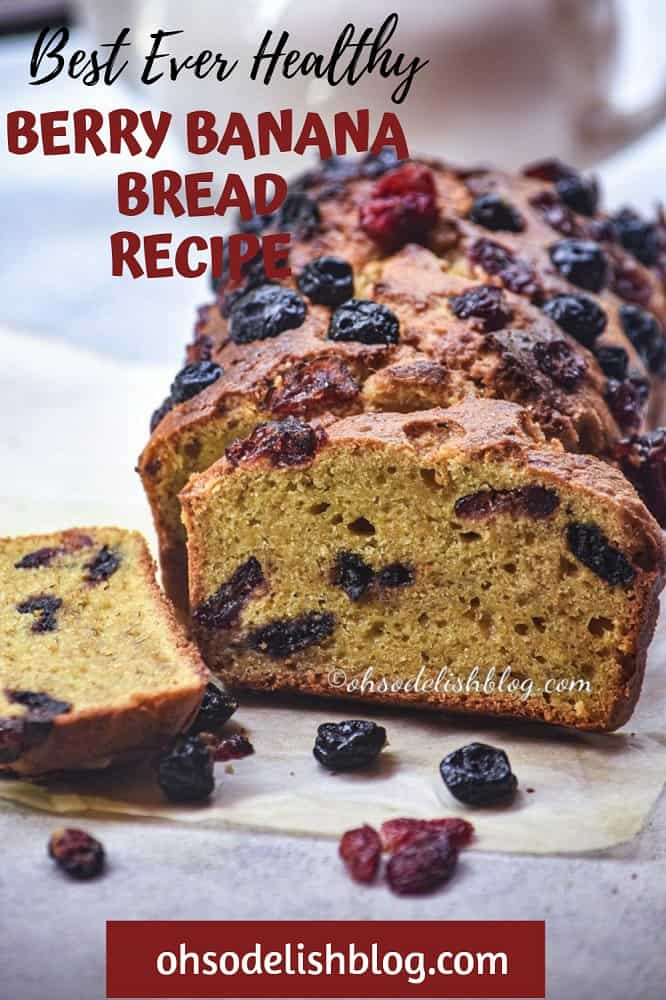Healthy whole wheat berry banana bread