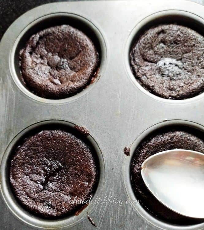 press the top of brownies with spoon