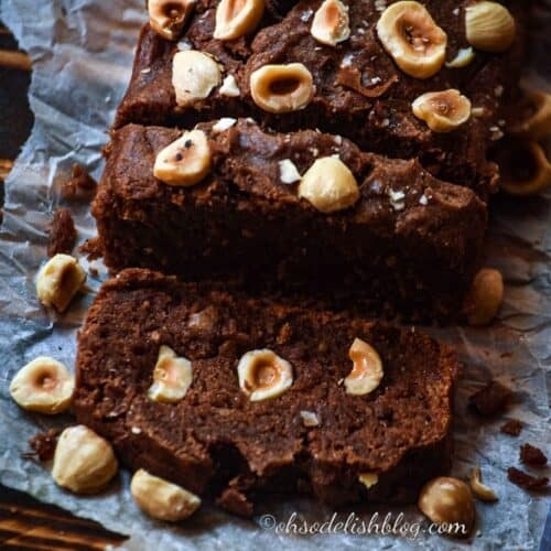 chocolate bread with hazelnuts kepy on a butter paper